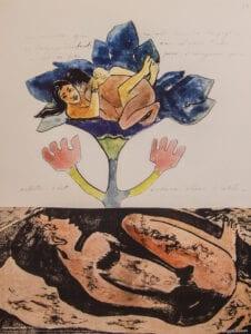 Gauguin print træsnit akvarel